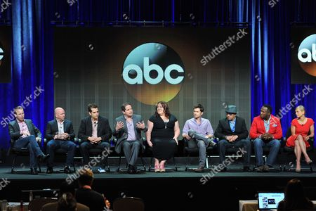 "Lucky 7"" cast and crew ( L-R): Darryl Frank, Justin Falvey, Jason Richman, David Zabel, Lorraine Bruce, Matt Long, Luis Antonio Ramos, Isiah Whitlock, Jr. and Anastasia Phillips attend the Disney/ABC Television Group's 2013 Summer TCA panel at the Beverly Hilton Hotel on in Beverly Hills, Calif"