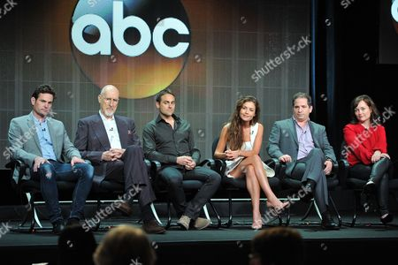 """Betryal"""" cast and crew ( L-R): Henry Thomas, James Cromwell, Stuart Townsend, Hannah Ware, David Zabel and Lisa Zwerling attend the Disney/ABC Television Group's 2013 Summer TCA panel at the Beverly Hilton Hotel on in Beverly Hills, Calif"""