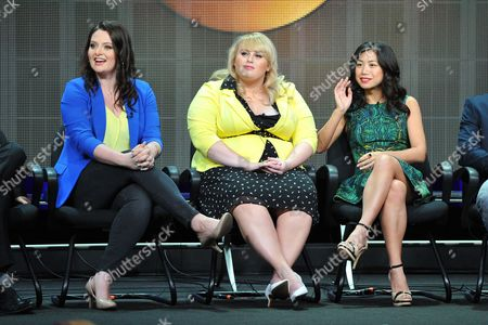 Actors Lauren Ash (L), Rebel Wilson (C) and Liza Lapira attend the Disney/ABC Television Group's 2013 Summer TCA panel at the Beverly Hilton Hotel on in Beverly Hills, Calif
