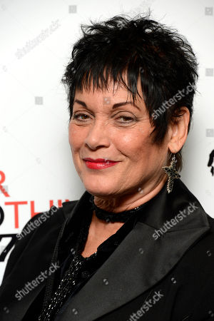 Martine Beswick poses at Everything or Nothing - The Untold Story of 007 at Odeon West End on in London
