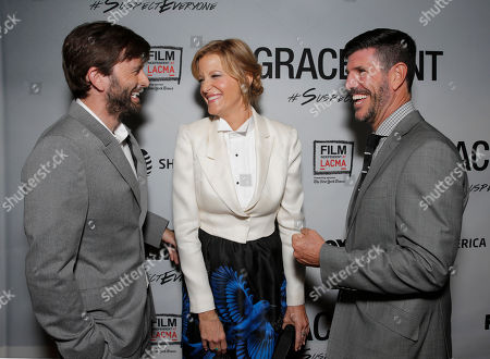 David Tennant, Anna Gunn and Rich Ross attend the Film Independent Screening of Fox's 'Gracepoint' at Bing Theatre at LACMA on in Los Angeles