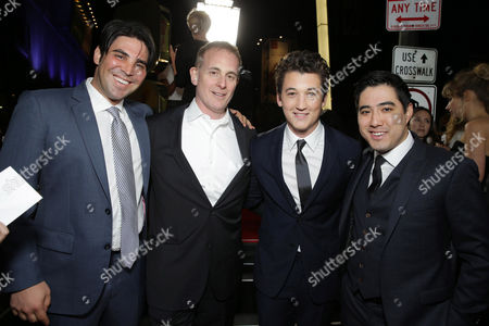 Producer Kevin Turen, Peter Schlessel, CEO of Focus Features, Miles Teller and Producer Justin Nappi seen at Focus Features 'That Awkward Moment' Premiere, on Monday, January, 27, 2014 in Los Angeles