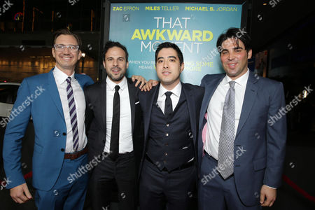 Producer Scott Aversano, Director/Screenplay Writer Tom Gormican, Producer Justin Nappi and Producer Kevin Turen seen at Focus Features 'That Awkward Moment' Premiere, on Monday, January, 27, 2014 in Los Angeles