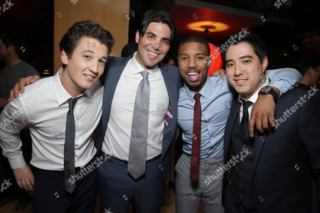 EXCLUSIVE CONTENT - PREMIUM RATES APPLY Miles Teller, Producer Kevin Turen, Michael B. Jordan and Producer Justin Nappi seen at Focus Features 'That Awkward Moment' Premiere, on Monday, January, 27, 2014 in Los Angeles