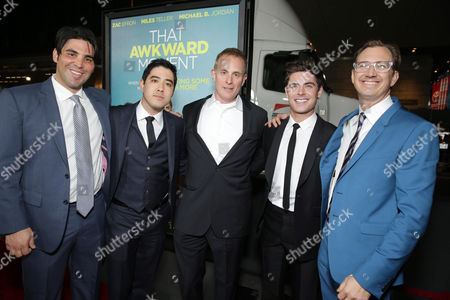 Producer Kevin Turen, Producer Justin Nappi, Peter Schlessel, CEO of Focus Features, Zac Efron and Producer Scott Aversano seen at Focus Features 'That Awkward Moment' Premiere, on Monday, January, 27, 2014 in Los Angeles