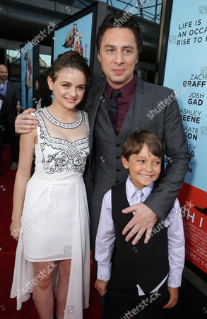 Joey King, Screenwriter/Director Zach Braff and Pierce Gagnon seen at Focus Features Presents the Los Angeles Premiere of 'Wish I Was Here', in Los Angeles