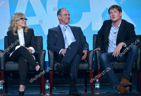 From left, Rachel Harris, Christopher Meloni, and executive producer Bill Lawrence are seen at the FOX Winter 2014 TCA,, at the Langham Hotel in Pasadena, Calif
