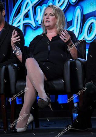 "Executive producer Trish Kinane is seen during the panel for ""American Idol"" at the FOX Winter 2014 TCA,, at the Langham Hotel in Pasadena, Calif"