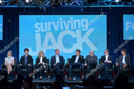 From left, Claudia Lee, Conner Buckley, Rachel Harris, Christopher Meloni, executive producers Bill Lawrence, Justin Halpern, Patrick Schumacker, and Jeff Ingold are seen at the FOX Winter 2014 TCA,, at the Langham Hotel in Pasadena, Calif
