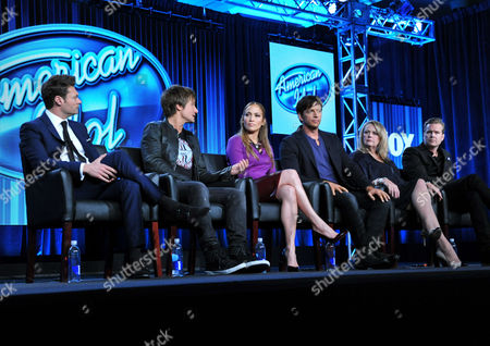 "From left, Ryan Seacrest, Keith Urban, Jennifer Lopez, Harry Connick Jr., and executive producers Trish Kinane and Per Blankens are seen during the panel for ""American Idol"" at the FOX Winter 2014 TCA,, at the Langham Hotel in Pasadena, Calif"