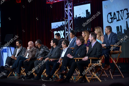 """From top left, Jay Hernandez, Sung Kang, Inbar Lavi, Shantel Vansanten, Rey Gallegos, Cliff Curtis, Terry O'Quinn, Rza, Ramon Rodriguez, executive producers Brian Grazer, Scott Rosenbaum and Chris Morgan are seen during the panel for """"Gang Related"""" at the FOX Winter 2014 TCA,, at the Langham Hotel in Pasadena, Calif"""