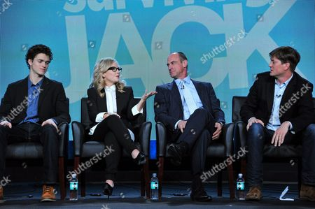 From left, Conner Buckley, Rachel Harris, Christopher Meloni, and executive producer Bill Lawrence are seen at the FOX Winter 2014 TCA,, at the Langham Hotel in Pasadena, Calif