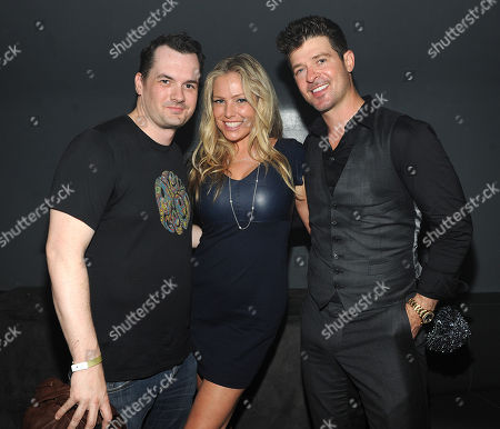 Jim Jefferies, Kate Luyben, and Robin Thicke at the launch party for the new FXX Network and season premiere of 'It's Always Sunny In Philadelphia' and 'The League' on at Lure in Hollywood, Calif