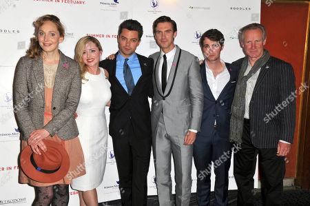 Stock Photo of Hattie Morahan, Mia Austen, Dominic Cooper, Dan Stevens, Max Deacon & Nicholas Farrell at the London Gala Screening of Summer In February on at Curzon Mayfair, London, United Kingdom