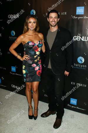 Stock Image of Katie Cleary, left, and Matt Raimo attend the Genlux OC Issue Release Party held at Halcyon Dermatology, in Laguna Hills, Calif