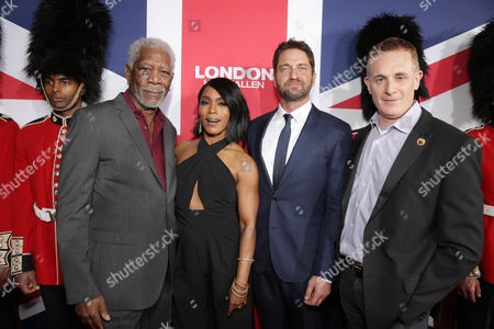 Stock Image of Morgan Freeman, Angela Bassett, Gerard Butler and Peter Schlessel, Chief Executive Officer, Focus Features, seen at Grammercy Pictures Present the Los Angeles Premiere of 'London Has Fallen' at ArcLight Hollywood, in Hollywood, CA