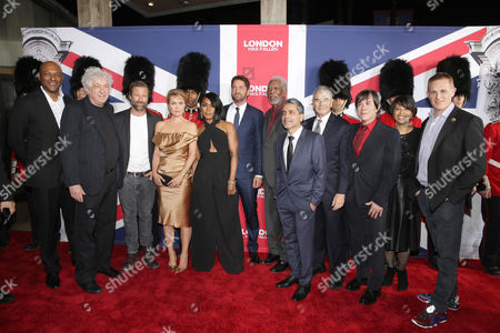 Colin Salmon, Executive Producer Avi Lerner, Aaron Eckhart, Radha Mitchell, Angela Bassett, Gerard Butler, Morgan Freeman, Director Babak Najafi, Robert Forster, Producer Alan Siegel, Christine Birch, President of Marketing of Focus Features, and Peter Schlessel, Chief Executive Officer, Focus Features, seen at Grammercy Pictures Present the Los Angeles Premiere of 'London Has Fallen' at ArcLight Hollywood, in Hollywood, CA