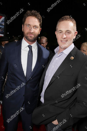 Gerard Butler and Peter Schlessel, Chief Executive Officer, Focus Features, seen at Grammercy Pictures Present the Los Angeles Premiere of 'London Has Fallen' at ArcLight Hollywood, in Hollywood, CA