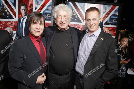 Producer Alan Siegel, Executive Producer Avi Lerner and Peter Schlessel, Chief Executive Officer, Focus Features, seen at Grammercy Pictures Present the Los Angeles Premiere of 'London Has Fallen' at ArcLight Hollywood, in Hollywood, CA