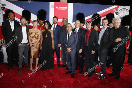 Colin Salmon, Aaron Eckhart, Radha Mitchell, Angela Bassett, Gerard Butler, Morgan Freeman, Director Babak Najafi, Robert Forster, Producer Alan Siegel, Christine Birch, President of Marketing of Focus Features, Peter Schlessel, Chief Executive Officer, Focus Features, and Executive Producer Avi Lerner seen at Grammercy Pictures Present the Los Angeles Premiere of 'London Has Fallen' at ArcLight Hollywood, in Hollywood, CA