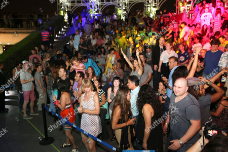 The crowd during LA-based arts and culture promoters Green Galactic celebrated its 20th anniversary with live performances from international electronic composers Andy Turner and Ed Handley of Plaid, John Tejada, Pole aka Stefan Betke, and DJ Barbara Preisinger held at Grand Performances, in Los Angeles, Calif