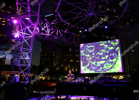 John Tejada performs during LA-based arts and culture promoters Green Galactic celebrated its 20th anniversary with live performances from international electronic composers Andy Turner and Ed Handley of Plaid, John Tejada, Pole aka Stefan Betke, and DJ Barbara Preisinger held at Grand Performances, in Los Angeles, Calif