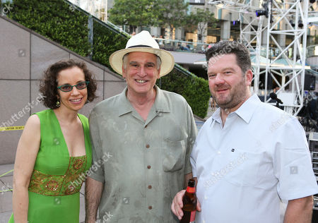 From left, Green Galactic's Lynn Tejada, Michael Alexander, Artistic Director Grand Performances and Pole aka Stefan Betke pose during LA-based arts and culture promoters Green Galactic celebrated its 20th anniversary with live performances from international electronic composers Andy Turner and Ed Handley of Plaid, John Tejada, Pole aka Stefan Betke, and DJ Barbara Preisinger held at Grand Performances, in Los Angeles, Calif