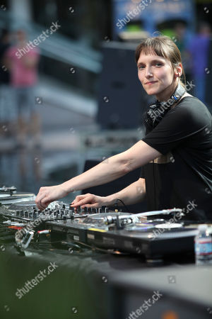 DJÂ Barbara Preisinger performs during LA-based arts and culture promoters Green Galactic celebrated its 20th anniversary with live performances from international electronic composers Andy Turner and Ed Handley of Plaid, John Tejada, Pole aka Stefan Betke, and DJ Barbara Preisinger held at Grand Performances, in Los Angeles, Calif