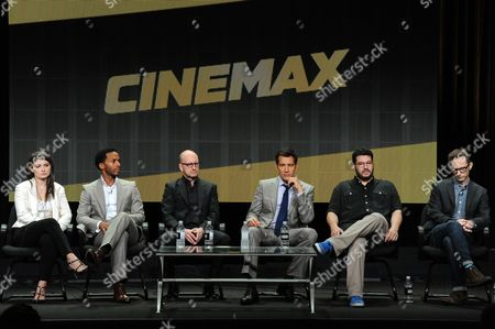 "From left, Actors Eve Hewson, Andre Holland, director Steven Soderbergh, actor Clive Owen, Writer/Executive Producers Jack Amiel and Michael Begler speak onstage during the ""The Knick"" segment of HBO 2014 Summer TCA, in Beverly Hills, Calif"