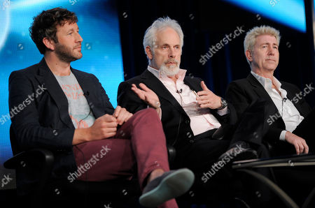 """Christopher Guest, center, writer/director/executive producer of the series """"Family Tree,"""" takes part in a panel discussion alongside cast member, Chris O'Dowd, left, and writer/creator/executive producer, Jim Piddock, during the HBO Winter TCA Press Tour at the Langham Huntington Hotel, in Pasadena, Calif"""