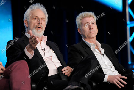 """Christopher Guest, left, and Jim Piddock, writers and executive producers of the series """"Family Tree,"""" take part in a panel discussion on the show during the HBO Winter TCA Press Tour at the Langham Huntington Hotel, in Pasadena, Calif"""