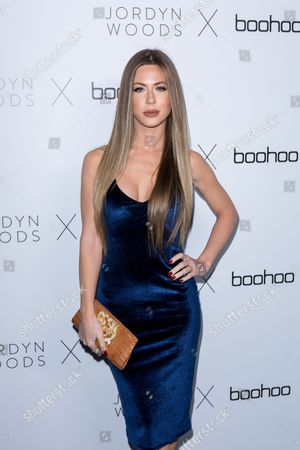 Stock Photo of Kristine Elezaj arrives at the Jordyn Woods x boohoo.com Launch Event at the Neuehouse Hollywood, in Los Angeles