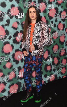 Xiuhtezcatl Martinez attends the Kenzo x H&M Runway Show at Pier 36, in New York