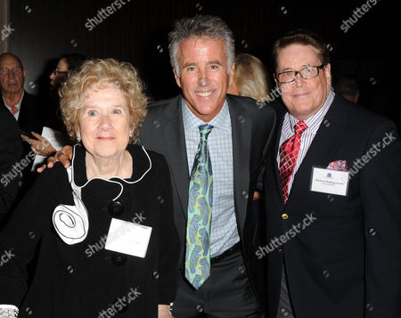 Peggy Albrecht, at left, and Christopher Kennedy Lawford, and Michael Hollingsworth are seen at the LA Friendly House Luncheon on in Beverly Hills, Calif