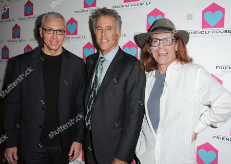 Dr. Drew Pinsky,from left, Christopher Kennedy Lawford, and Bob Forrest are seen at the LA Friendly House Luncheon on in Beverly Hills, Calif