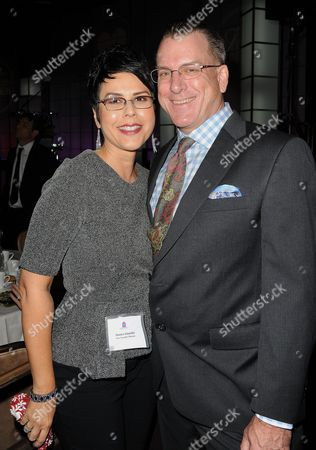Monica Schneider, at left, and Ross Phillips seen at the LA Friendly House Luncheon on in Beverly Hills, Calif