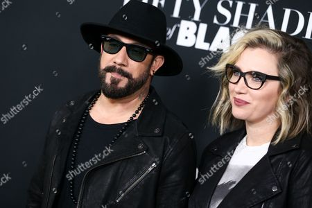 "A.J. McLean, left, and Rochelle Deanna Karidis attend the LA Premiere of ""50 Shades of Black"" held at Regal L.A. Live, in Los Angeles"
