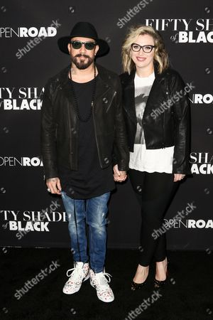 "A. J. McLean, left, and Rochelle Deanna Karidis attend the LA Premiere of ""50 Shades of Black"" held at Regal L.A. Live, in Los Angeles"