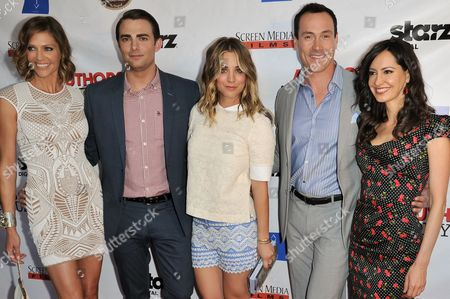 """From left, Tricia Helfer, Jonathan Bennett, Kaley Cuoco, Chris Klein, and Charlene Amoia arrive at the LA Premiere of """"Authors Anonymous"""", in Los Angeles"""