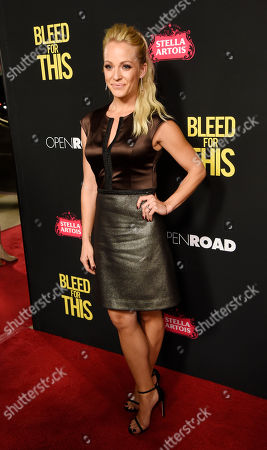 "Actress Amanda Clayton poses at the premiere of the film ""Bleed for This"" at the Samuel Goldwyn Theater, in Beverly Hills, Calif"