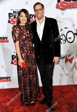 """Ob Minkoff, left, and Crystal Kung arrive at the LA Premiere of """"Mr. Peabody & Sherman"""" on in Los Angeles"""