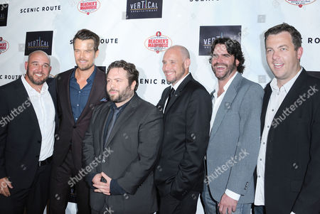 "Michael Goetz, from left, Josh Duhamel, Dan Fogler, Kevin Goetz, Brion Hambel, and Luke Rivett arrive on the red carpet for the premiere of ""Scenic Route"" at the Chinese 6 Theater on in Los Angeles"