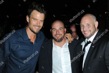 "Josh Duhamel, from left, Michael Goetz, and Kevin Goetz attend the afterparty for the premiere of ""Scenic Route"" at Beacher's Madhouse on in Los Angeles"