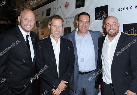"Kevin Goetz, from left, Rich Goldberg, Mitch Budin, and Michael Goetz arrives on the red carpet for the premiere of ""Scenic Route"" at the Chinese 6 Theater on in Los Angeles"
