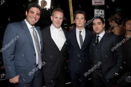 Producer Kevin Turen, CEO of Focus Features Peter Schlessel, Miles Teller and Producer Justin Nappi attend the Los Angeles Premiere of 'That Awkward Moment' Premiere, on Monday, January, 27, 2014 in Los Angeles