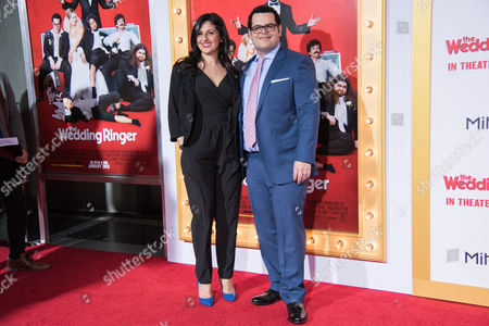 Ida Darvish, left and Josh Gad arrive at the LA Premiere Of The Wedding Ringer at the TLC Chinese Theatre, in Los Angeles, CA