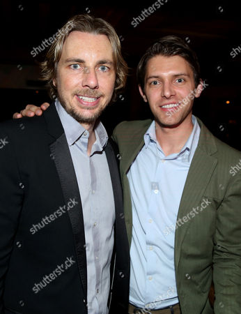 """Stock Photo of Dax Shepard, left, and Ryan Devlin pose together at the after party for the premiere of """"Veronica Mars"""", in Los Angeles"""