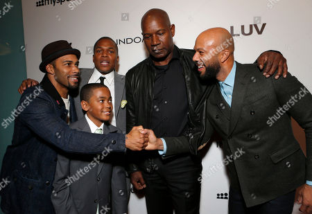 """Omari Hardwick, Director Sheldon Candis, Michael Rainey Jr., Dennis Haysbert and Common attend the LA premiere of """"Luv"""" at the Pacific Design Center, in West Hollywood, California"""