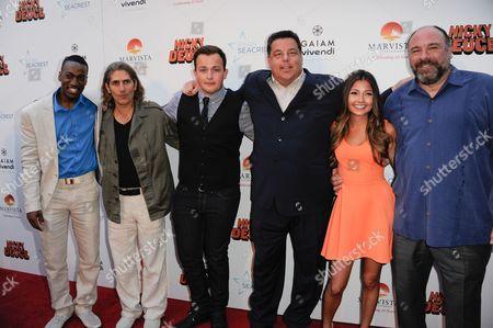 "From left, Cassius Crieghtney, Michael Imperioli, Noah Munck, Steve Schirripa, Christine Prosperi, and James Gandolfini arrive at the LA premiere of ""Nicky Deuce"" at the ArcLight Hollywood on in Los Angeles"
