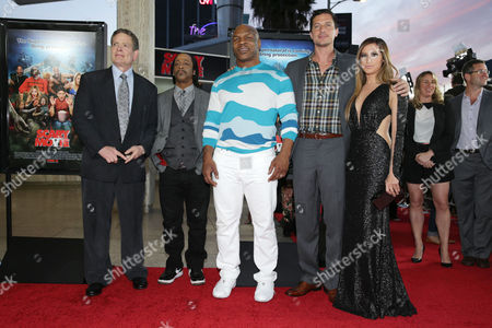 Producer David Zucker, Katt Williams, Mike Tyson, Simon Rex and Ashley Tisdale at the LA Premiere of Scary Movie V at the Cinerama Dome on in Los Angeles